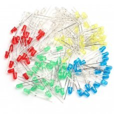100pcs 3mm LED Light Emitting Diode Component Assorted Kit DIY LEDs Mix Color, five color White, Red