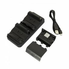 2X Système de charge pour Xbox One + 2 * 1200mAH Batterie rechargeable Noir