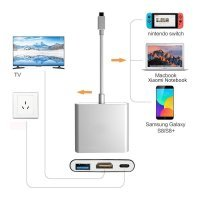 3IN1 USB 3.1 Type-C USB-C to Female HUB 4K HD HDMI Data Charging Adapter Cable