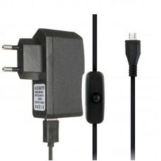 Chargeur Micro USB Adaptateur secteur 5V 2.5A 2500mA avec câble avec interrupteur pour Raspberry Pi 1/2/3 Modèle B / B plus
