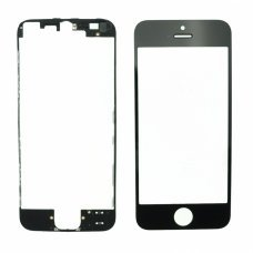 Glass Black Replacement Front Outer Screen For Iphone 5s + adhesive bezzel