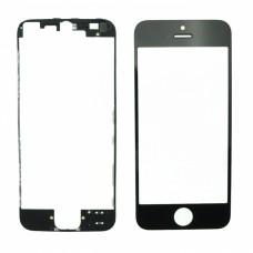 Ecran extérieur avant de remplacement en verre noir pour Iphone 5 + lunette adhésive
