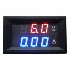 Panneau Ampèremètre Voltmètre Numérique Bleu LED Bleu Rouge DC 0-100V 10A Double Voltmètre Numérique