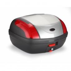 XXL 46 L Premium Boîte de toit universelle Premium Argent pour motos / scooters 2 casques mod-0889WPC-SILVER Argent