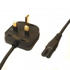 C5 Trèfle Vers Câble d'alimentation secteur UK NOIR - 1.8 Mtrs